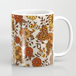 Retro 70s boho hippie orange flower power Coffee Mug