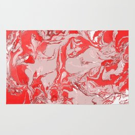 Red and white Marble texture acrylic Liquid paint art Rug