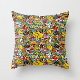 Graffiti seamless texture Throw Pillow