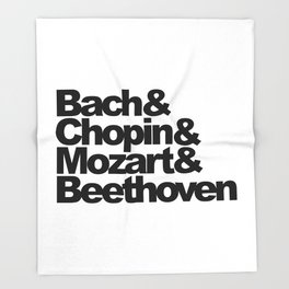 Bach and Chopin and Mozart and Beethoven Throw Blanket
