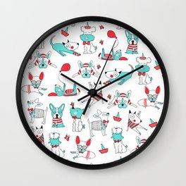 One dog and his friends Wall Clock