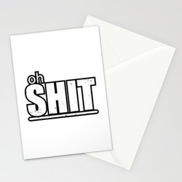 Oh shit black typography Stationery Cards