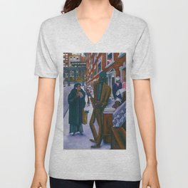 Portrait of Harlem, NY African American Masterpiece by E. Burra Unisex V-Neck