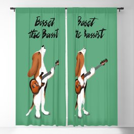 Basset the Bassist (Green) Blackout Curtain