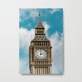 Big Ben London and blue cloud sky   Travel Photography Metal Print