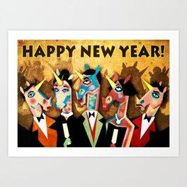 Happy New Year Unicorns 2018! Art Print