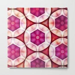 Fuschia Deep Salmon Geometrics Metal Print