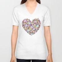 dessert V-neck T-shirts featuring Dessert by Julia Emiliani