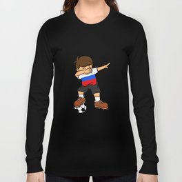 Russia Soccer Ball Dabbing Kid Russian Football 2018 Long Sleeve T-shirt