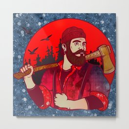 Hipster Lumberjack Red Metal Print