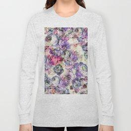Vintage bohemian rustic pink lavender floral Long Sleeve T-shirt