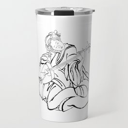 Hokusai, a woman and a shamisen -manga, japan,hokusai,japanese,北斎,ミュージシャン Travel Mug