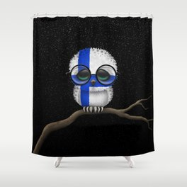 Baby Owl with Glasses and Finnish Flag Shower Curtain