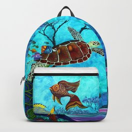 A Fish of a Different Color - Mermaid and seaturtle Backpack