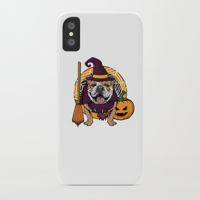 Witch Bulldog Dog Costume For Spooky Halloween iPhone Case by bubltees