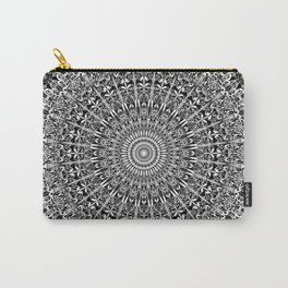 Grey Geometric Floral Mandala Carry-All Pouch