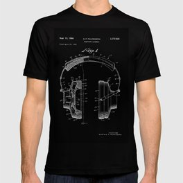 Headphones Patent - White on Black T-shirt