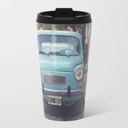 Mint - Blue Retro Fiat Car  Travel Mug