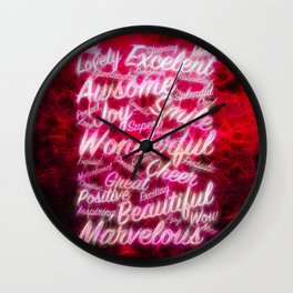 Red positive word cloud by Brian Vegas Wall Clock