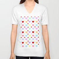 hearts V-neck T-shirts featuring Hearts by Regan's World