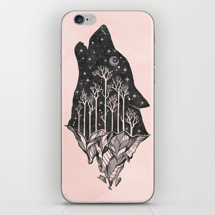 Adventure Wolf - Nature Mountains Wolves Howling Design Black on Pale Pink iPhone Skin