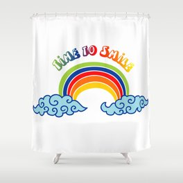 Time to Smile Rainbow Shower Curtain