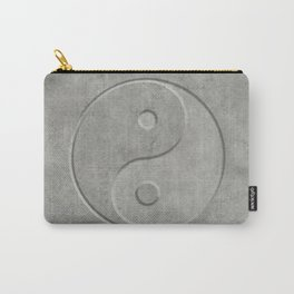 Yin and Yang Symbol embossed  concrete stone Carry-All Pouch