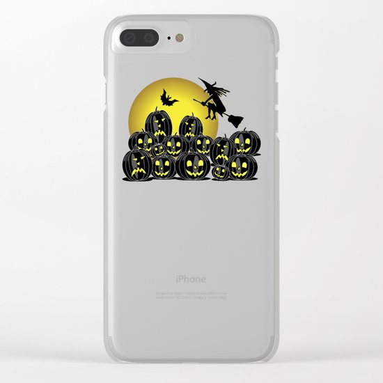 Pumpkins and witch in front of a full moon Clear iPhone Case