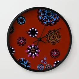 Flowers With Red Background Wall Clock
