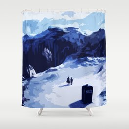 Tardis Art At The Snow Mountain Shower Curtain