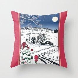 Silent Winter Night Silhouette Throw Pillow