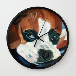 Marley the Boxer Dog Original Portrait Painting Wall Clock