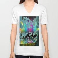 sail V-neck T-shirts featuring Rainbow Sail by BeachStudio