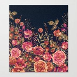 Vintage Garden 3 (Night Flowers) Canvas Print