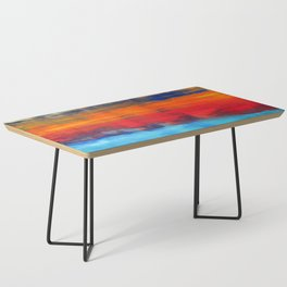 Horizon Blue Orange Red Abstract Art Coffee Table