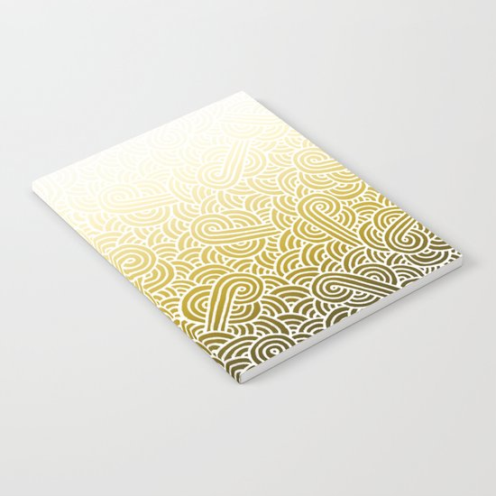 Ombre yellow and white swirls doodles Notebook