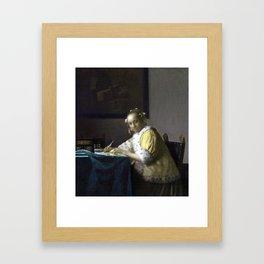 Johannes Vermeer A Lady Writing Framed Art Print