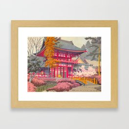 Japanese Woodblock Print Vintage Bright East Asian Red Pagoda Spring Garden Framed Art Print