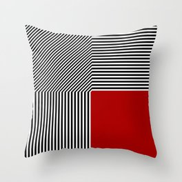 Geometric abstraction, black and white stripes, red square Throw Pillow