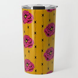 Hot Pink Flower With Barbed Wire On Yellow Background Travel Mug