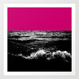Black Wave w/Hot Pink Horizon Art Print