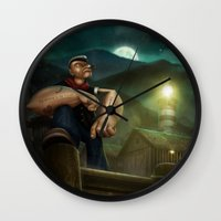 popeye Wall Clocks featuring Popeye by Geison Araujo