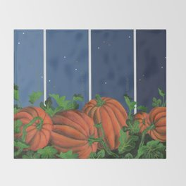Pumpkin Patch at Night on Blues Throw Blanket