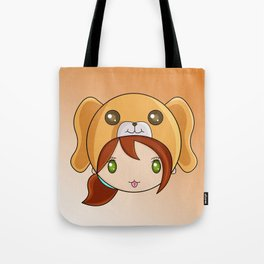Cute Dog Hat Girl Tote Bag