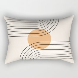 Geometric Lines in Black and Beige 14 (Rainbow and Sun Abstraction) Rectangular Pillow