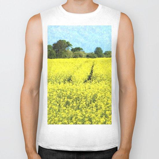 Rape Seed Field watercolour Biker Tank
