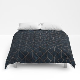 Gold Art deco on Navy ink Comforters