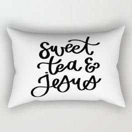 Sweet Tea and Jesus Typography Rectangular Pillow