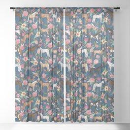 Horse Florals - navy Sheer Curtain