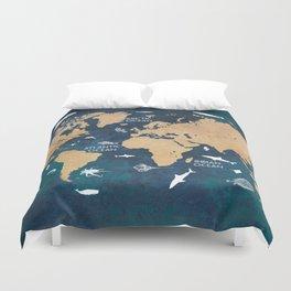 World Map Oceans Life blue #map #world Duvet Cover